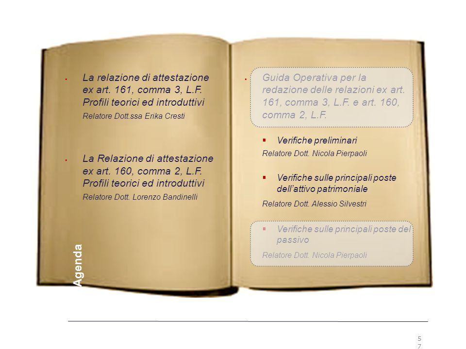 57 Premesse  Guida Operativa per la redazione delle relazioni ex art. 161, comma 3, L.F. e art. 160, comma 2, L.F.  Verifiche preliminari Relatore D
