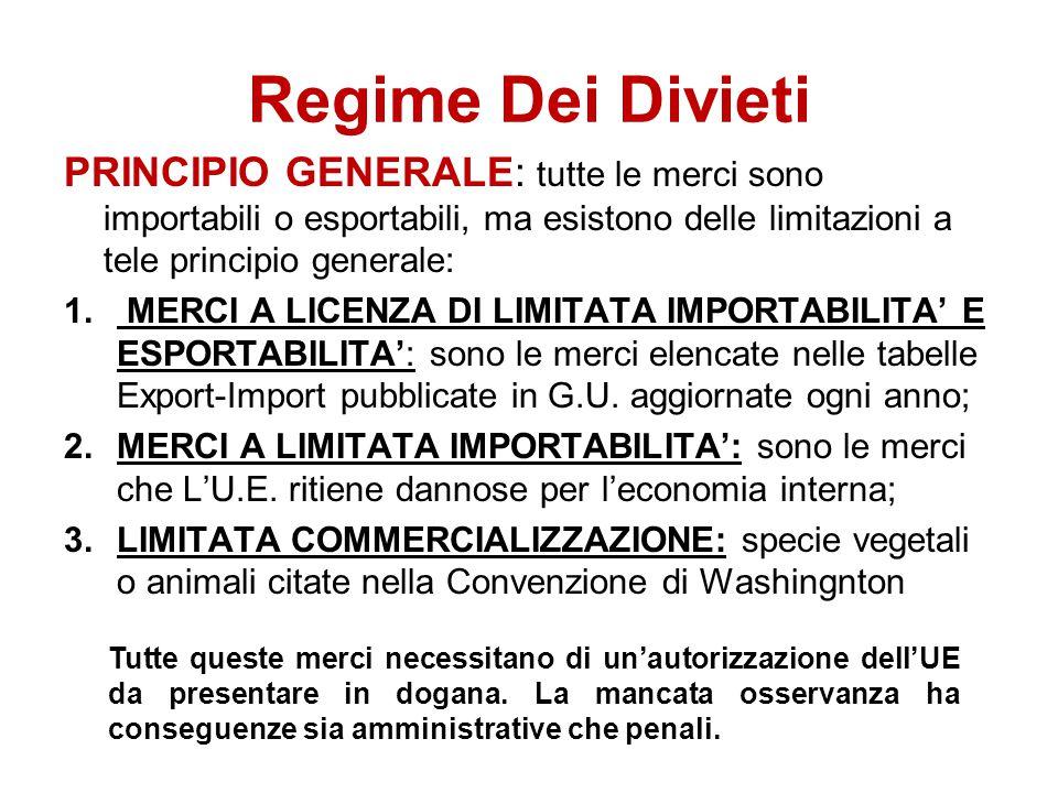 Regime Dei Divieti PRINCIPIO GENERALE: tutte le merci sono importabili o esportabili, ma esistono delle limitazioni a tele principio generale: 1. MERC