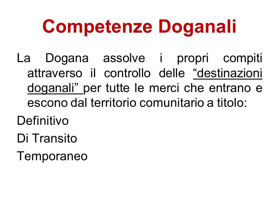 """Competenze Doganali La Dogana assolve i propri compiti attraverso il controllo delle """"destinazioni doganali"""" per tutte le merci che entrano e escono d"""