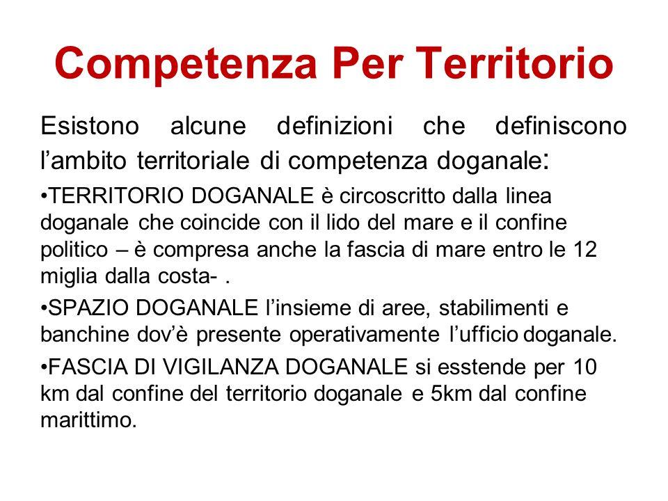 Competenza Per Territorio Esistono alcune definizioni che definiscono l'ambito territoriale di competenza doganale : TERRITORIO DOGANALE è circoscritt