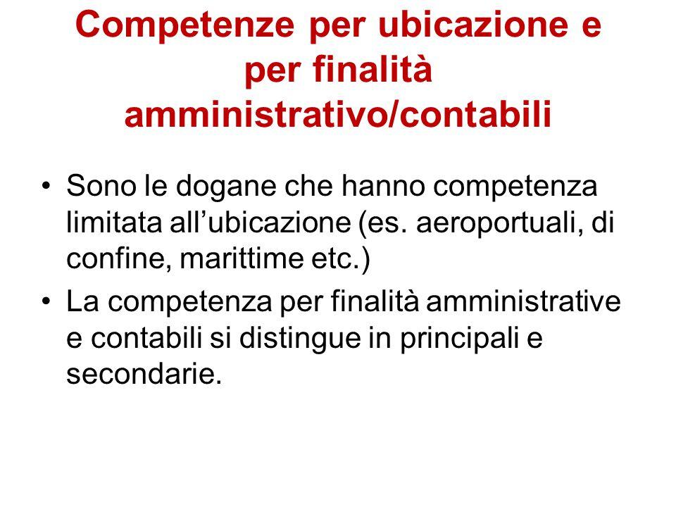 Competenze per ubicazione e per finalità amministrativo/contabili Sono le dogane che hanno competenza limitata all'ubicazione (es. aeroportuali, di co