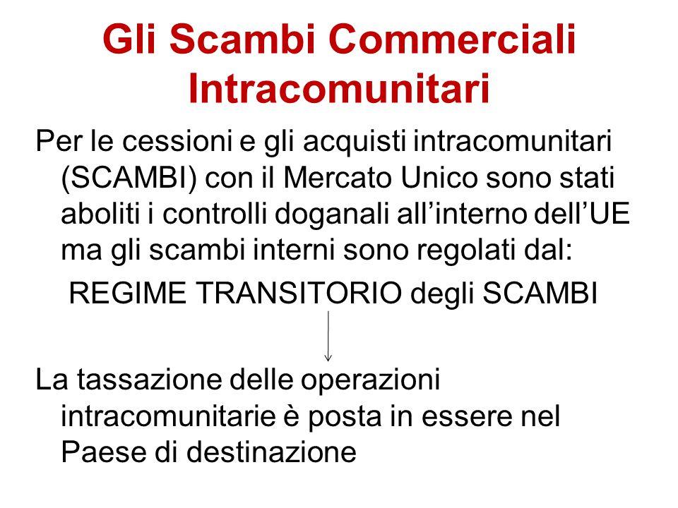 Gli Scambi Commerciali Intracomunitari Per le cessioni e gli acquisti intracomunitari (SCAMBI) con il Mercato Unico sono stati aboliti i controlli dog