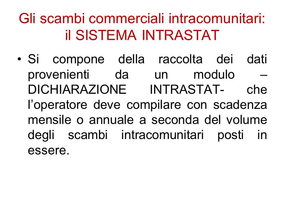 Gli scambi commerciali intracomunitari: il SISTEMA INTRASTAT Si compone della raccolta dei dati provenienti da un modulo – DICHIARAZIONE INTRASTAT- ch