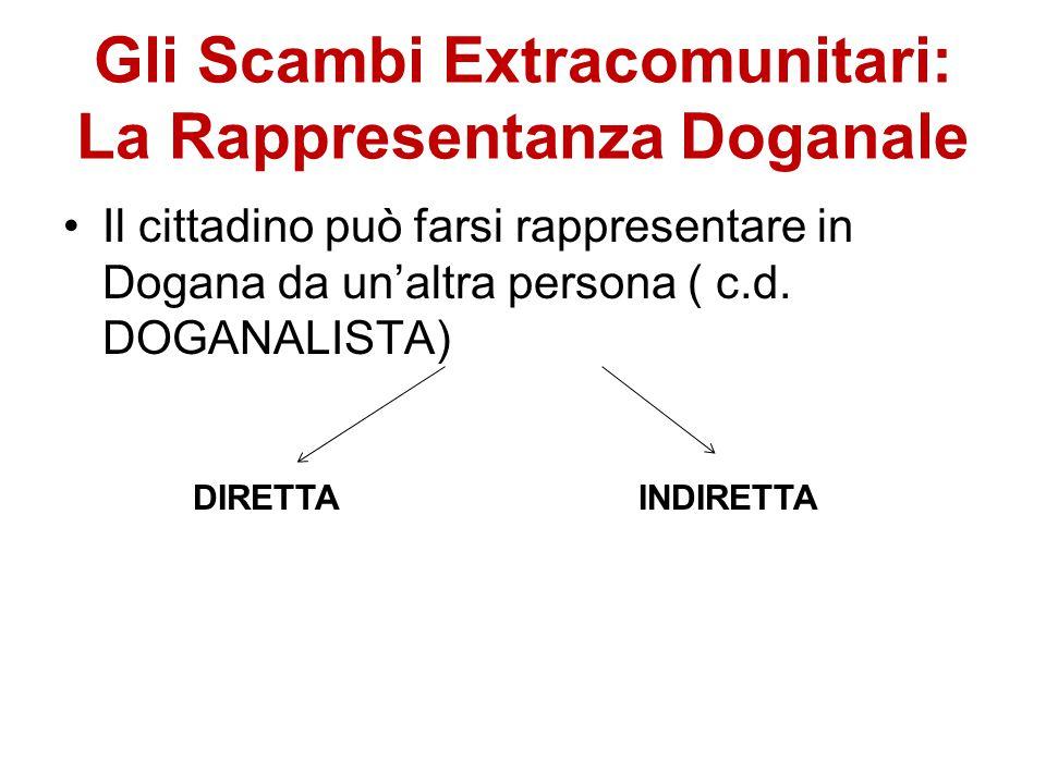 Gli Scambi Extracomunitari: La Rappresentanza Doganale Il cittadino può farsi rappresentare in Dogana da un'altra persona ( c.d. DOGANALISTA) DIRETTAI