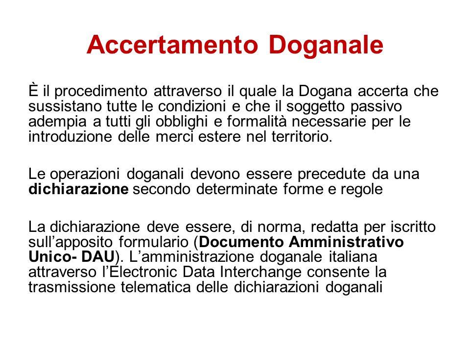 Accertamento Doganale È il procedimento attraverso il quale la Dogana accerta che sussistano tutte le condizioni e che il soggetto passivo adempia a t
