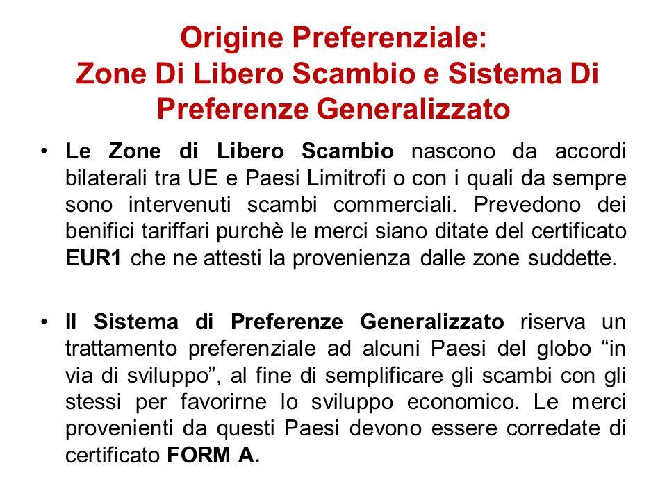 Origine Preferenziale: Zone Di Libero Scambio e Sistema Di Preferenze Generalizzato Le Zone di Libero Scambio nascono da accordi bilaterali tra UE e P