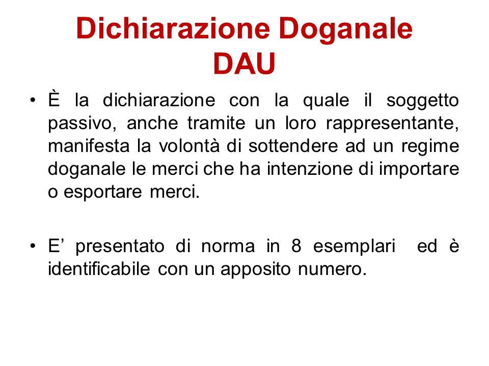 Dichiarazione Doganale DAU È la dichiarazione con la quale il soggetto passivo, anche tramite un loro rappresentante, manifesta la volontà di sottende