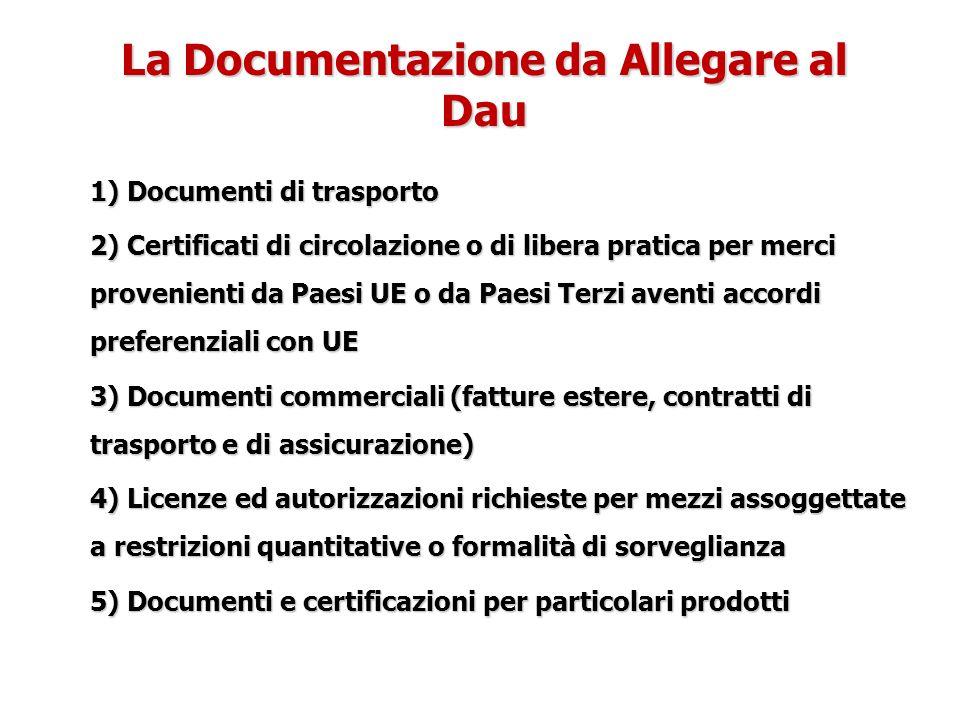 La Documentazione da Allegare al Dau 1) Documenti di trasporto 2) Certificati di circolazione o di libera pratica per merci provenienti da Paesi UE o