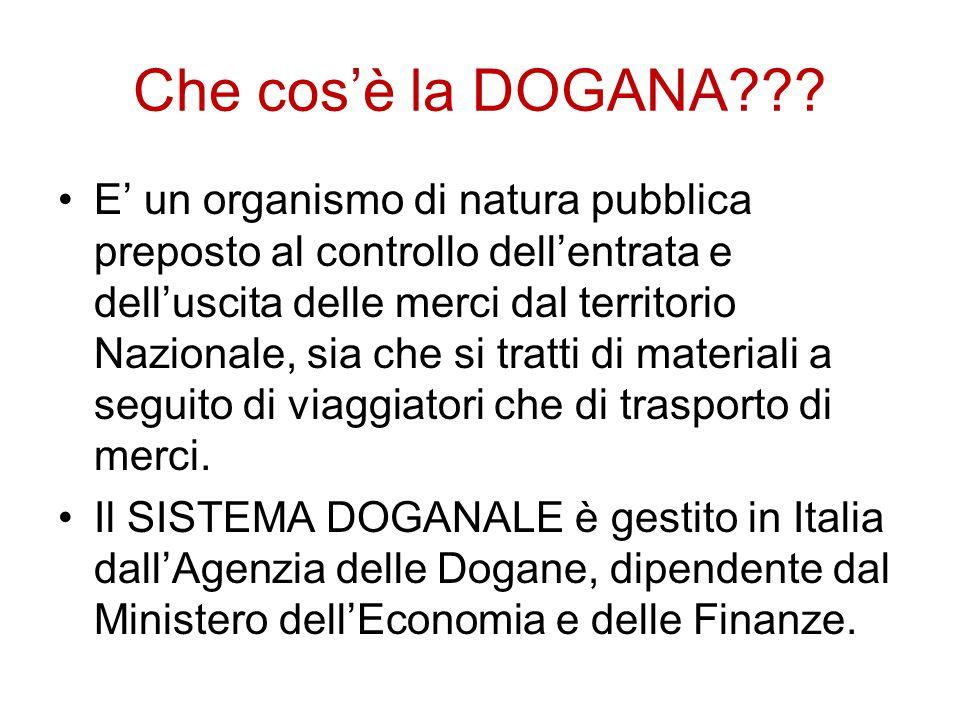 Che cos'è la DOGANA??? E' un organismo di natura pubblica preposto al controllo dell'entrata e dell'uscita delle merci dal territorio Nazionale, sia c