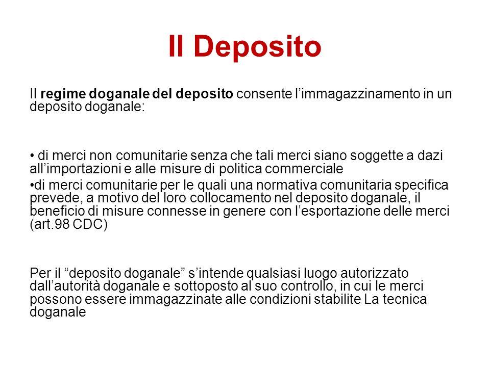 Il Deposito Il regime doganale del deposito consente l'immagazzinamento in un deposito doganale: di merci non comunitarie senza che tali merci siano s