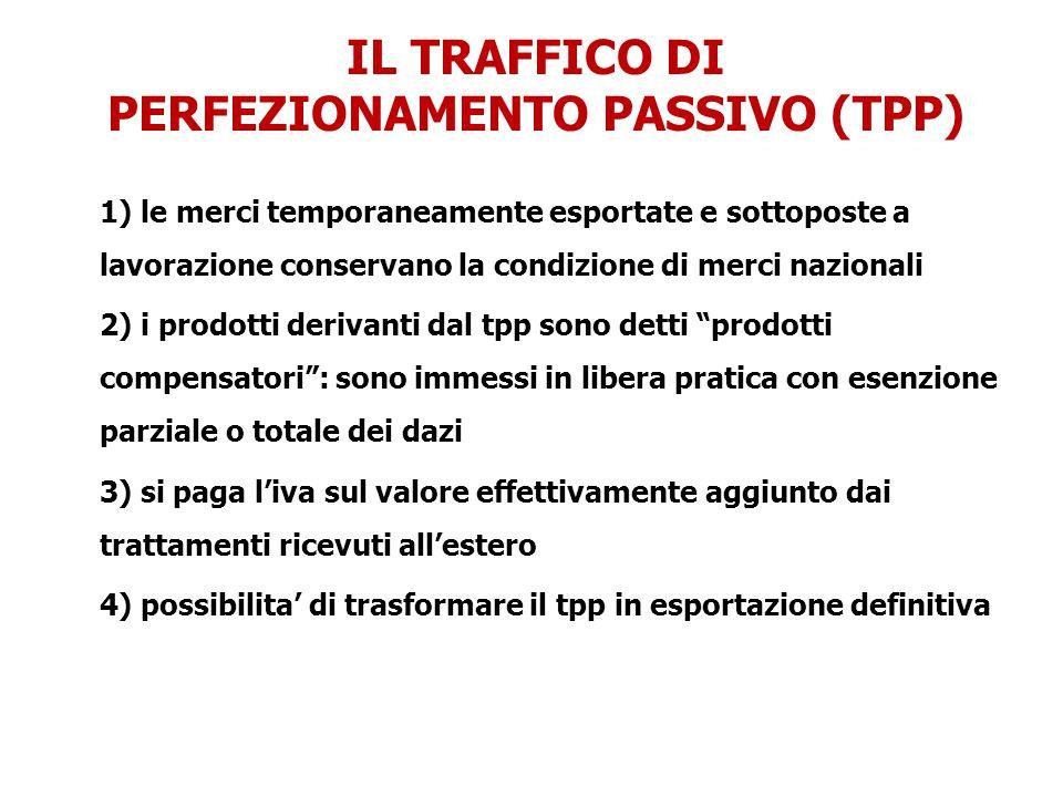 IL TRAFFICO DI PERFEZIONAMENTO PASSIVO (TPP) 1) le merci temporaneamente esportate e sottoposte a lavorazione conservano la condizione di merci nazion