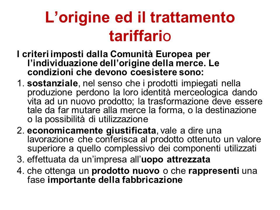 L'origine ed il trattamento tariffario I criteri imposti dalla Comunità Europea per l'individuazione dell'origine della merce. Le condizioni che devon