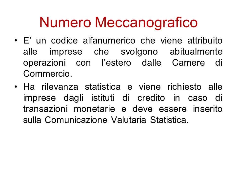 Numero Meccanografico E' un codice alfanumerico che viene attribuito alle imprese che svolgono abitualmente operazioni con l'estero dalle Camere di Co