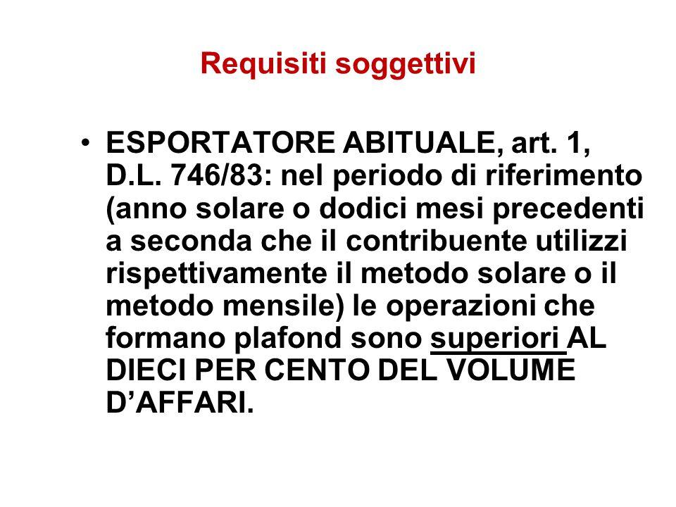 Requisiti soggettivi ESPORTATORE ABITUALE, art. 1, D.L. 746/83: nel periodo di riferimento (anno solare o dodici mesi precedenti a seconda che il cont