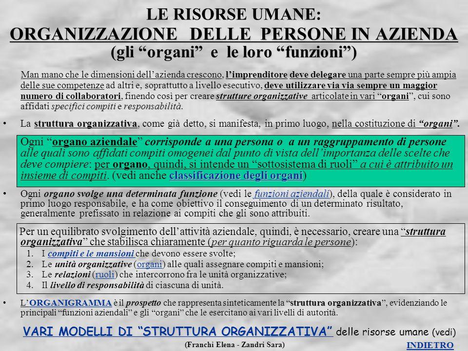 """(Franchi Elena - Zandri Sara) ORGANIZZAZIONE DELLE PERSONE IN AZIENDA (gli """"organi"""" e le loro """"funzioni"""") LE RISORSE UMANE: ORGANIZZAZIONE DELLE PERSO"""
