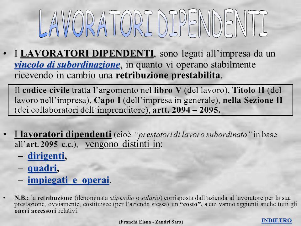 (Franchi Elena - Zandri Sara) LAVORATORI DIPENDENTI vincolo di subordinazione retribuzione prestabilita nella Sezione II artt. 2094 – 2095.I LAVORATOR