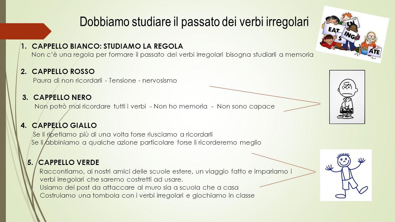 Dobbiamo studiare il passato dei verbi irregolari 1.CAPPELLO BIANCO: STUDIAMO LA REGOLA Non c'è una regola per formare il passato dei verbi irregolari