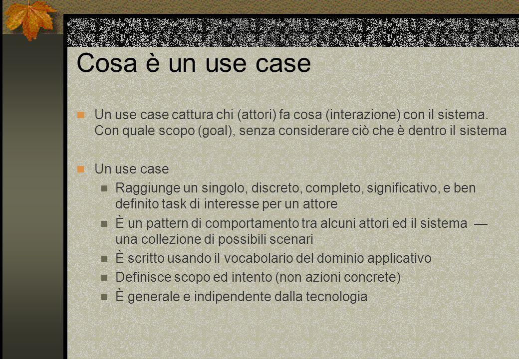 Cosa è un use case Un use case cattura chi (attori) fa cosa (interazione) con il sistema. Con quale scopo (goal), senza considerare ciò che è dentro i