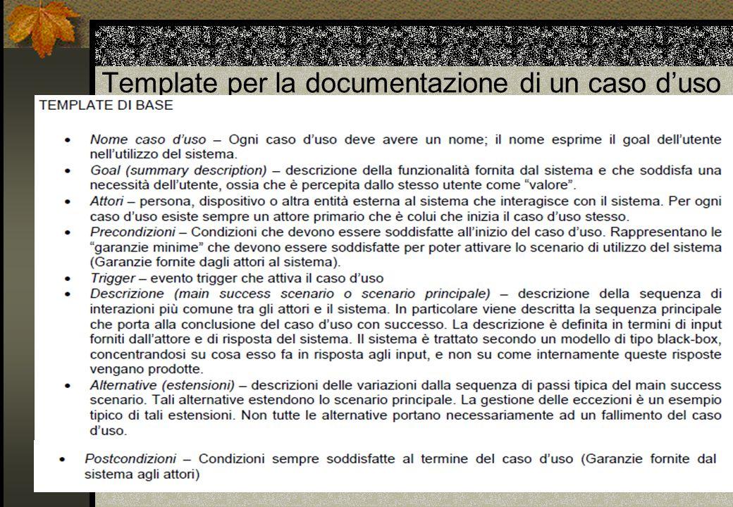 Template per la documentazione di un caso d'uso