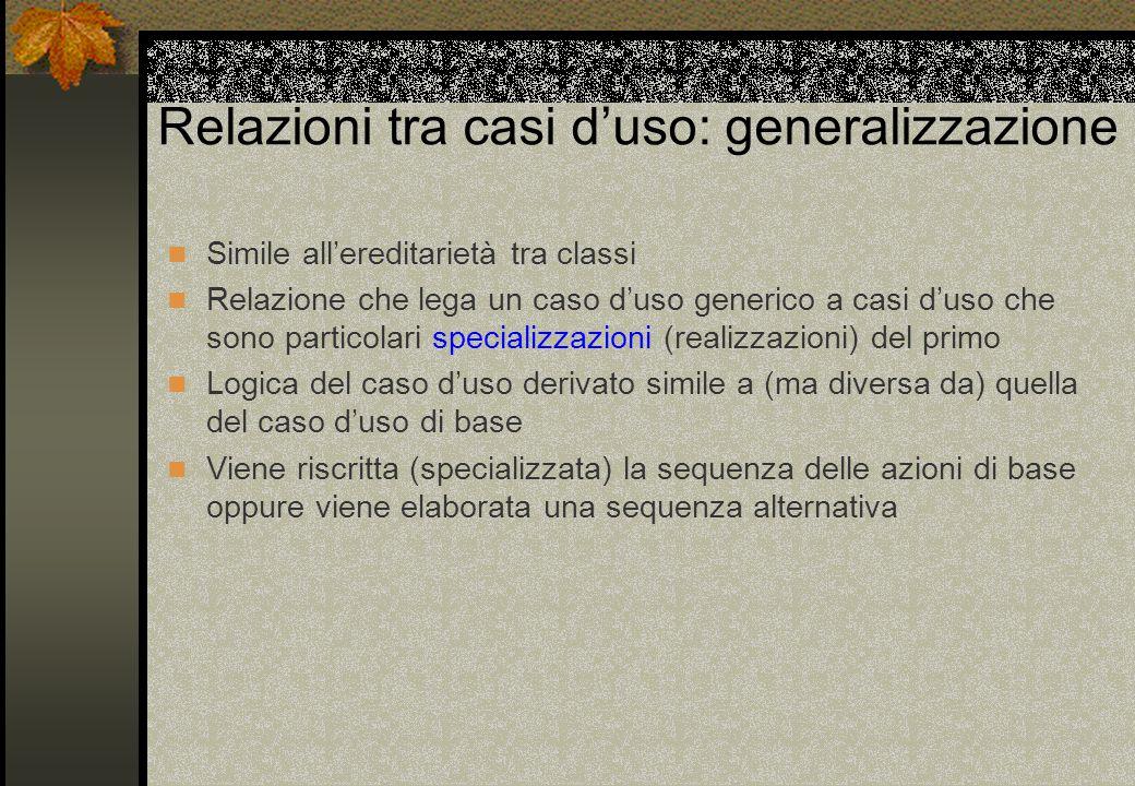 Relazioni tra casi d'uso: generalizzazione Simile all'ereditarietà tra classi Relazione che lega un caso d'uso generico a casi d'uso che sono particol