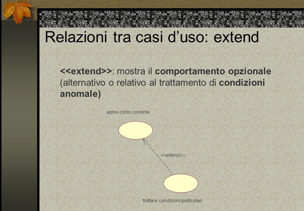 Relazioni tra casi d'uso: extend >: mostra il comportamento opzionale (alternativo o relativo al trattamento di condizioni anomale) trattare condizioni particolari aprire conto corrente >