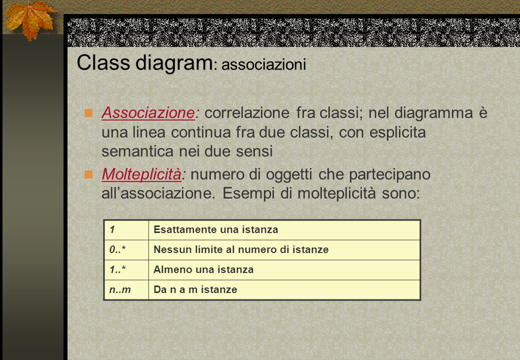 Class diagram : associazioni Associazione: correlazione fra classi; nel diagramma è una linea continua fra due classi, con esplicita semantica nei due sensi Molteplicità: numero di oggetti che partecipano all'associazione.