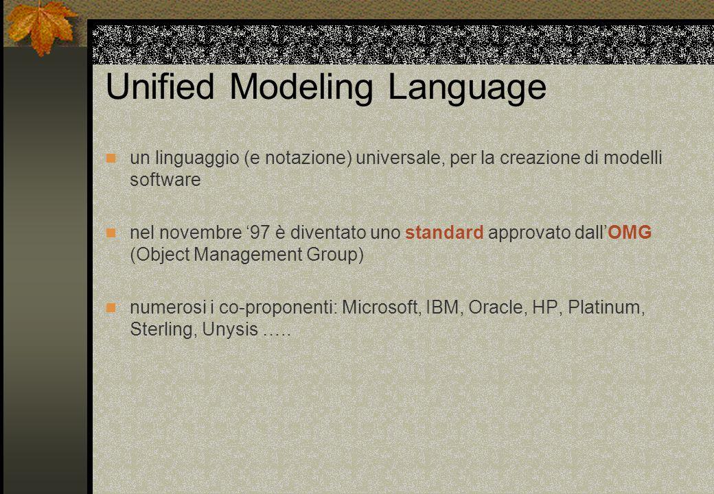 Unified Modeling Language un linguaggio (e notazione) universale, per la creazione di modelli software nel novembre '97 è diventato uno standard approvato dall'OMG (Object Management Group) numerosi i co-proponenti: Microsoft, IBM, Oracle, HP, Platinum, Sterling, Unysis …..