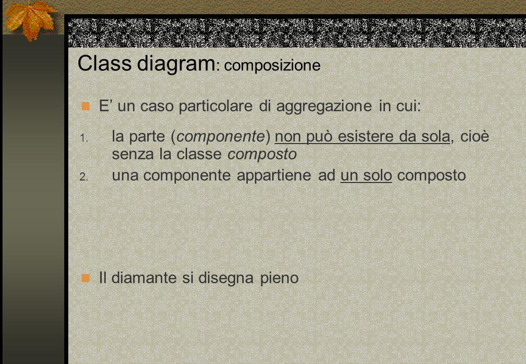 Class diagram : composizione E' un caso particolare di aggregazione in cui: Il diamante si disegna pieno 1. la parte (componente) non può esistere da