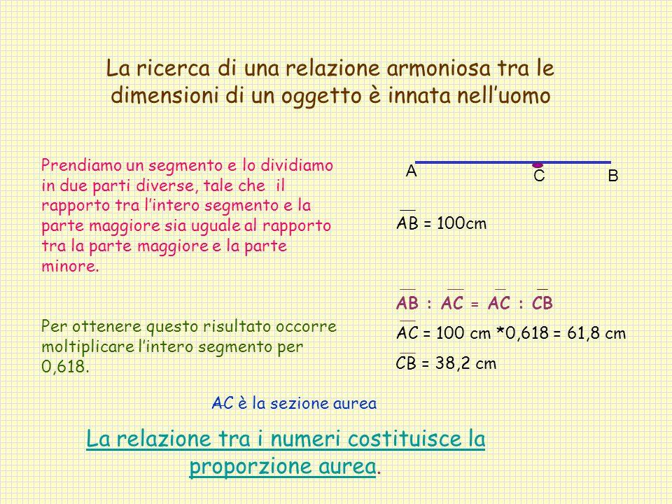 Prendiamo un segmento e lo dividiamo in due parti diverse, tale che il rapporto tra l'intero segmento e la parte maggiore sia uguale al rapporto tra la parte maggiore e la parte minore.