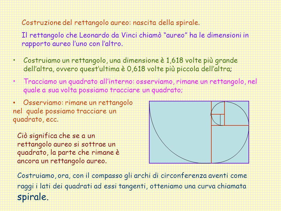 Costruzione del rettangolo aureo: nascita della spirale.
