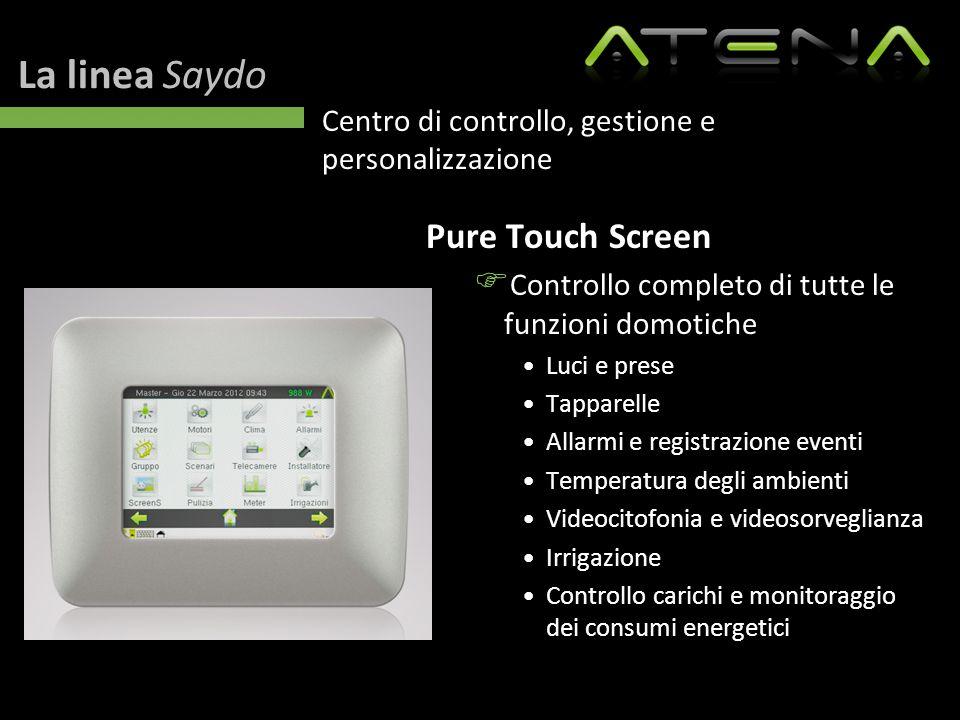 La linea Saydo Centro di controllo, gestione e personalizzazione Pure Touch Screen  Controllo completo di tutte le funzioni domotiche Luci e prese Ta