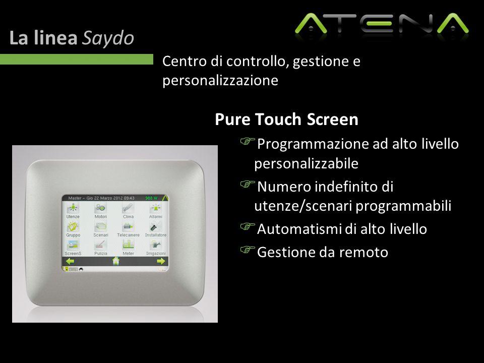 La linea Saydo Centro di controllo, gestione e personalizzazione Pure Touch Screen  Programmazione ad alto livello personalizzabile  Numero indefini
