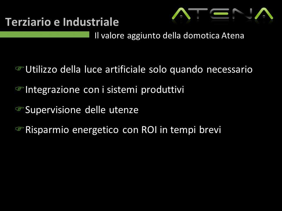 Terziario e Industriale Il valore aggiunto della domotica Atena  Utilizzo della luce artificiale solo quando necessario  Integrazione con i sistemi
