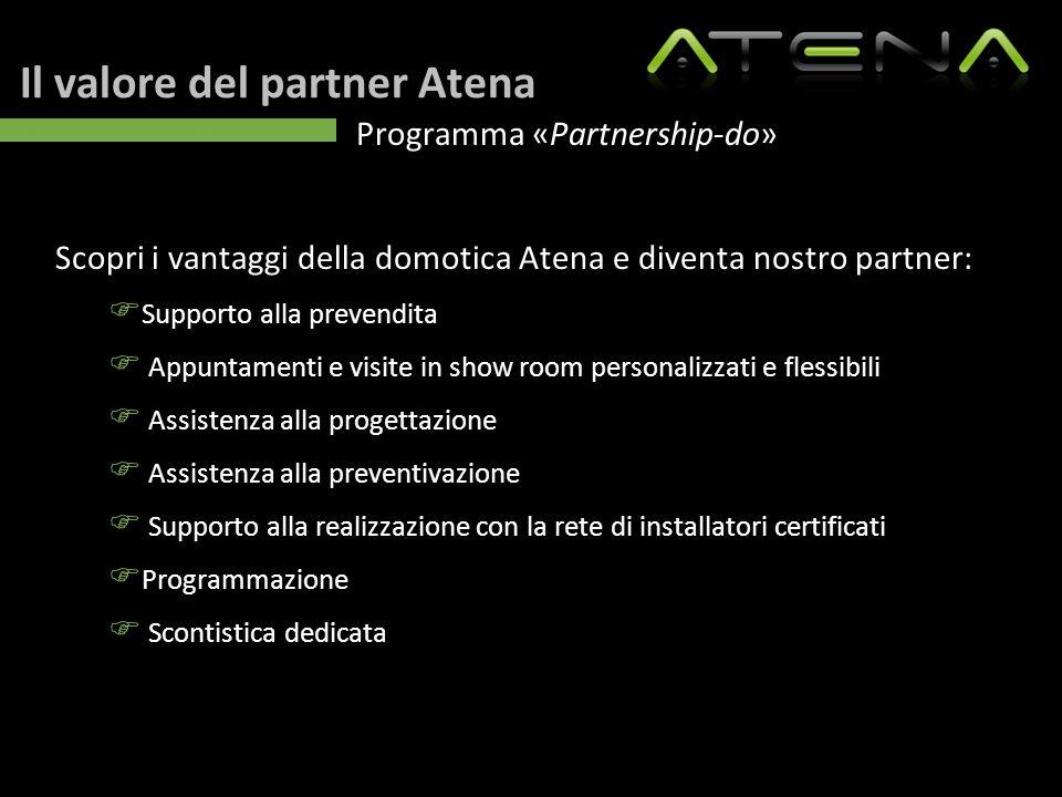 Il valore del partner Atena Programma «Partnership-do» Scopri i vantaggi della domotica Atena e diventa nostro partner:  Supporto alla prevendita  A
