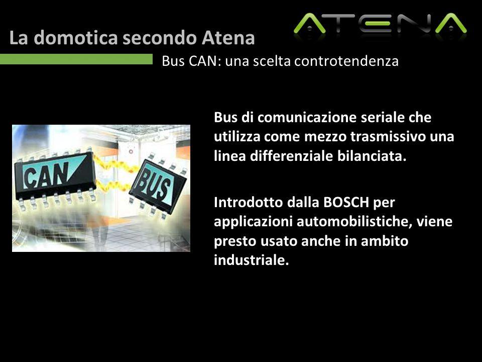 La domotica secondo Atena Bus CAN: una scelta controtendenza Bus di comunicazione seriale che utilizza come mezzo trasmissivo una linea differenziale