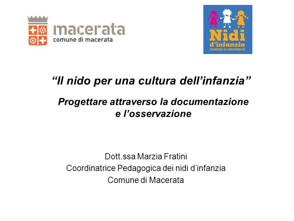 Il nido per una cultura dell'infanzia Dott.ssa Marzia Fratini Coordinatrice Pedagogica dei nidi d'infanzia Comune di Macerata Progettare attraverso la documentazione e l'osservazione
