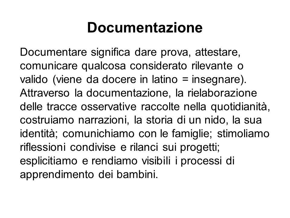 Documentazione Documentare significa dare prova, attestare, comunicare qualcosa considerato rilevante o valido (viene da docere in latino = insegnare).