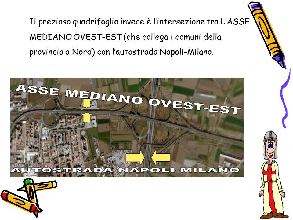 Il prezioso quadrifoglio invece è l'intersezione tra L'ASSE MEDIANO OVEST-EST (che collega i comuni della provincia a Nord) con l'autostrada Napoli-Mi