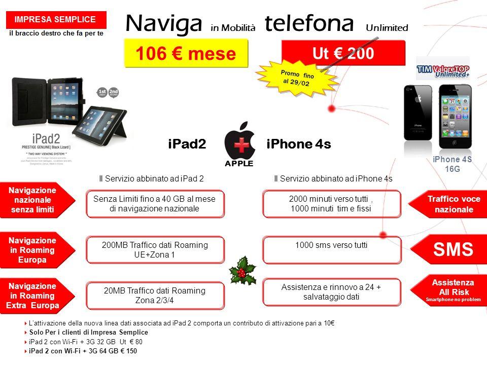 GRUPPO TELECOM ITALIA Naviga in Mobilità telefona Unlimited Il Servizio abbinato ad iPad 2 Navigazione nazionale senza limiti Senza Limiti fino a 40 G