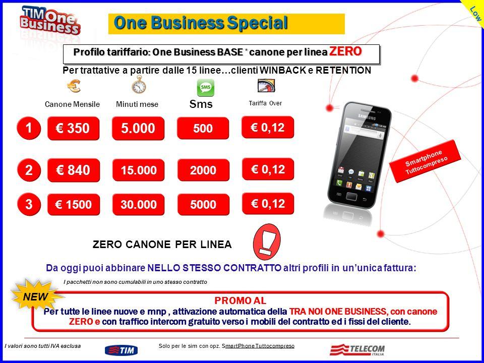 GRUPPO TELECOM ITALIA Profilo tariffario: One Business BASE * canone per linea ZERO I pacchetti non sono cumulabili in uno stesso contratto I valori s
