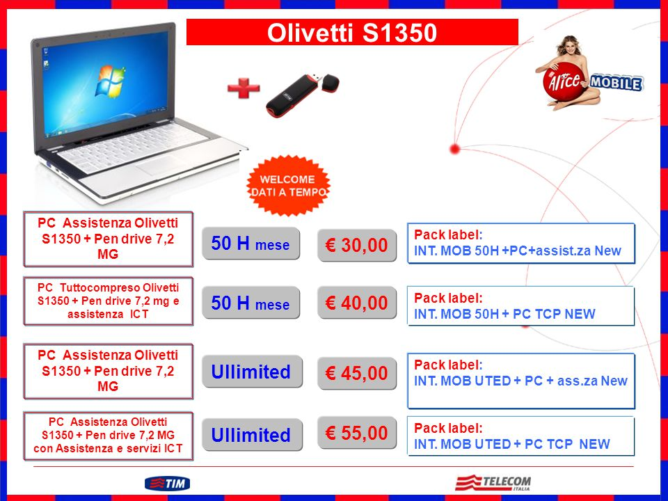 GRUPPO TELECOM ITALIA Attivazione 10 € u.t. Olivetti S1350 Pack label: INT. MOB 50H +PC+assist.za New PC Assistenza Olivetti S1350 + Pen drive 7,2 MG