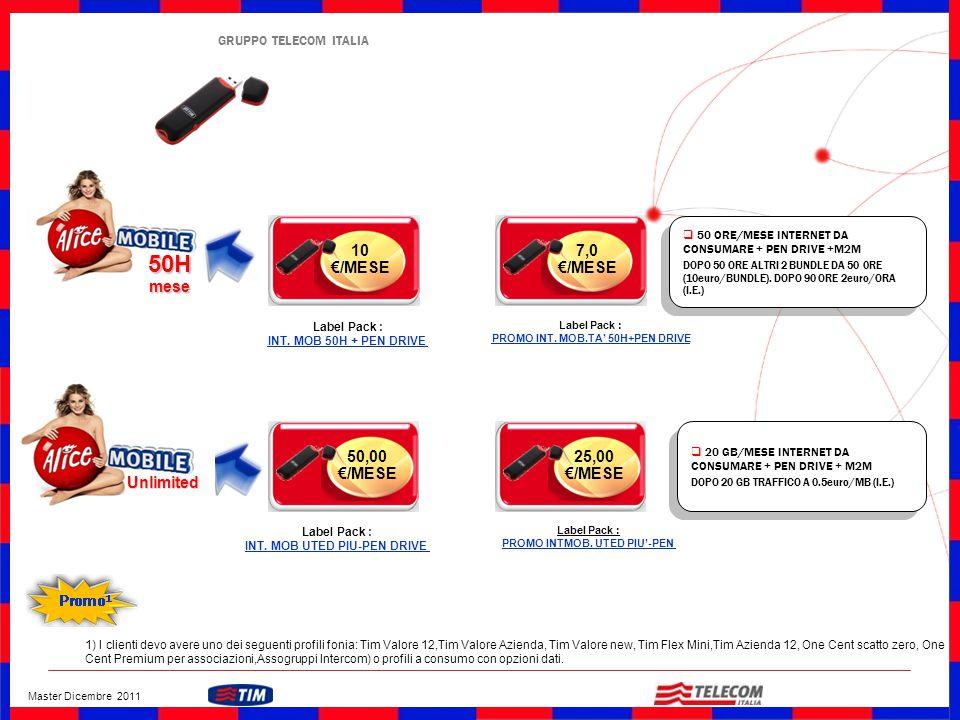 GRUPPO TELECOM ITALIA 10 €/MESE 50H mese Unlimited 50,00 €/MESE  50 ORE/MESE INTERNET DA CONSUMARE + PEN DRIVE +M2M DOPO 50 ORE ALTRI 2 BUNDLE DA 50