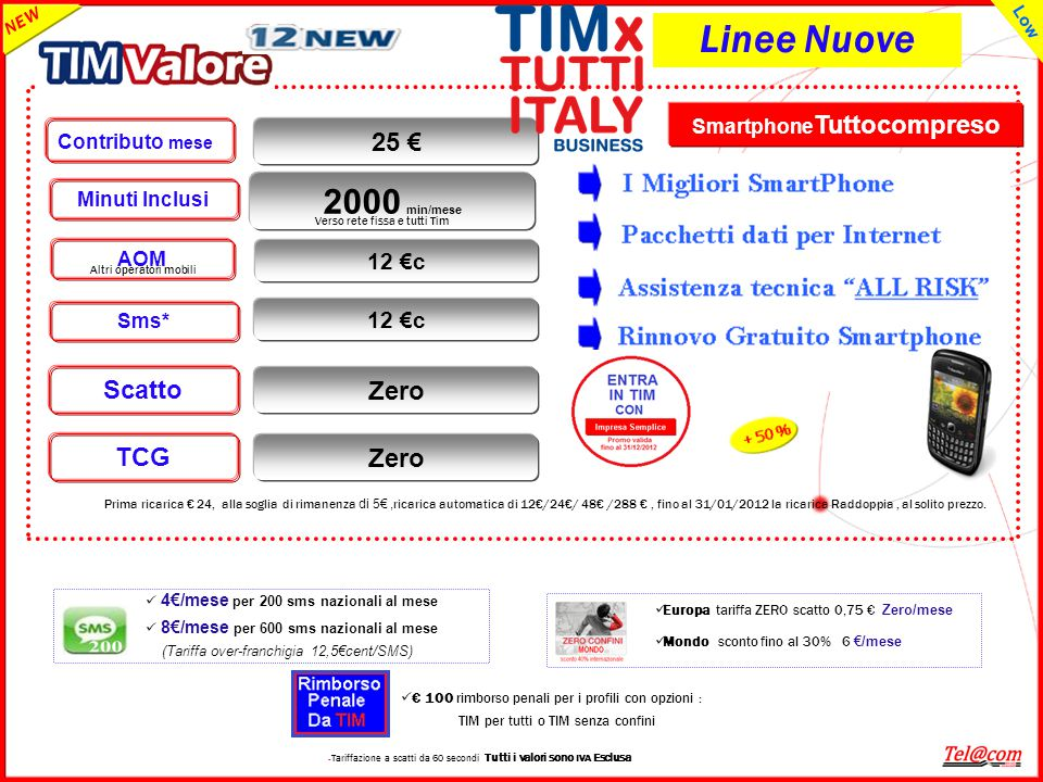 Smartphone Tuttocompreso Zero TCG Zero Scatto 12 €c AOM Contributo mese 25 € NEW Low Minuti Inclusi 12 €c Sms* 2000 min/mese – Tariffazione a scatti d
