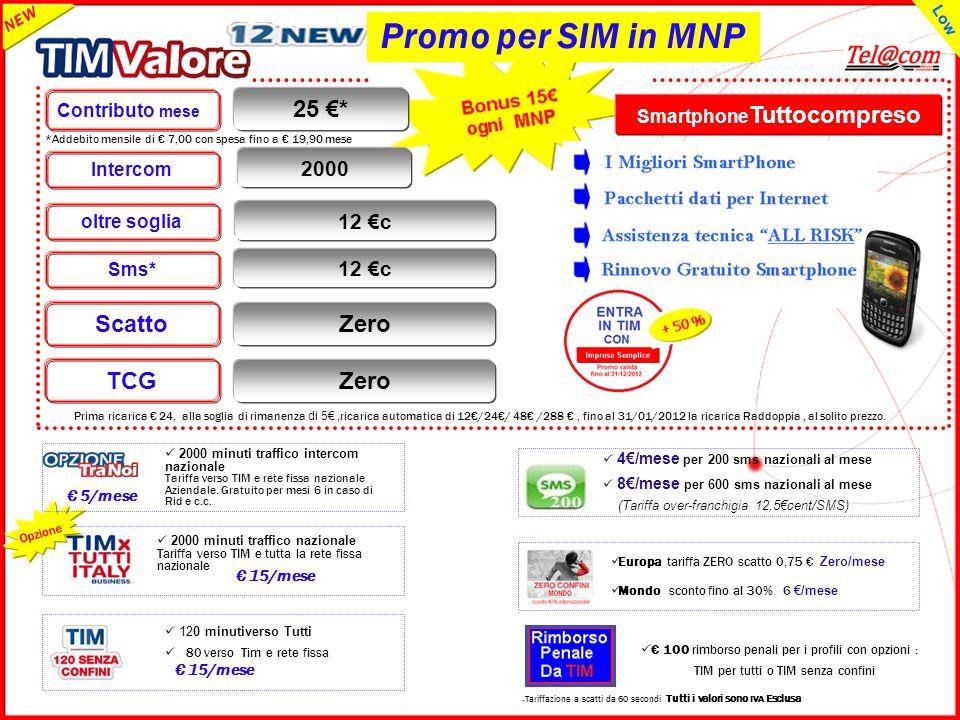 GRUPPO TELECOM ITALIA *Addebito mensile di € 7,00 con spesa fino a € 19,90 mese Smartphone Tuttocompreso Zero TCG Zero Scatto 12 €c oltre soglia Contr