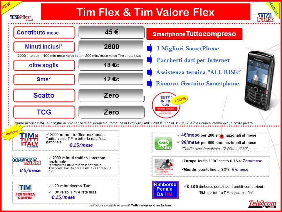 GRUPPO TELECOM ITALIA Tim Flex & Tim Valore Flex 2000 intercom +400 min mese verso tutti + 200 min/mese verso Tim e rete fissa Smartphone Tuttocompres