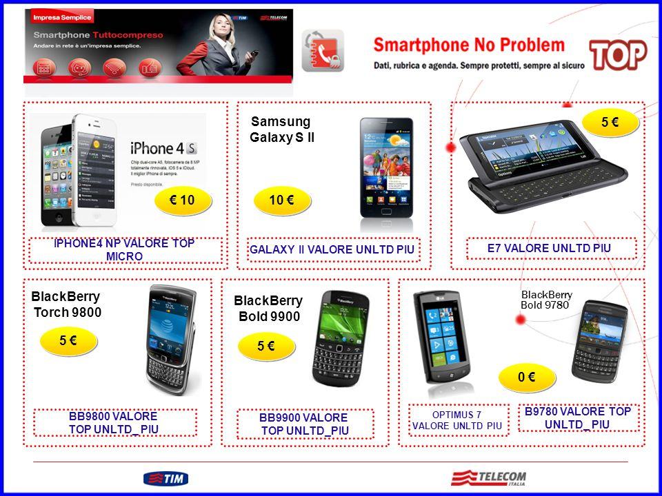 GRUPPO TELECOM ITALIA € 10 5 € 0 € Samsung Galaxy S II 10 € Nokia E7 5 € BlackBerry Torch 9800 BlackBerry Bold 9900 BlackBerry Bold 9780 OPTIMUS 7 VAL