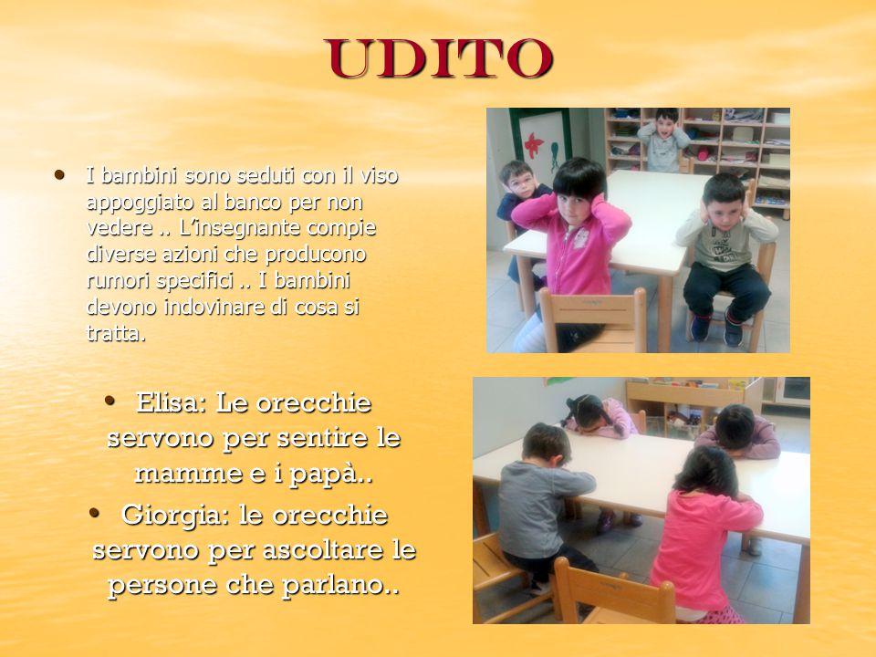 Olfatto L'segnante prepara dei bicchieri chiusi contenenti varie sostanze profumate..i bambini divisi in due gruppi devono indovinare di cosa si tratta.