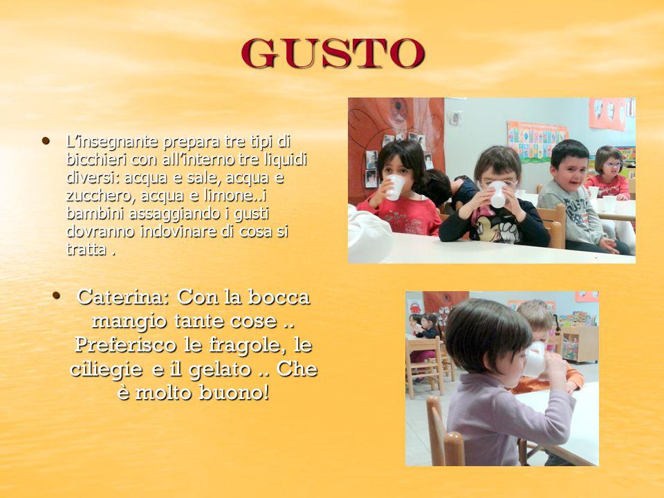 Gusto L'insegnante prepara tre tipi di bicchieri con all'interno tre liquidi diversi: acqua e sale, acqua e zucchero, acqua e limone..i bambini assaggiando i gusti dovranno indovinare di cosa si tratta.