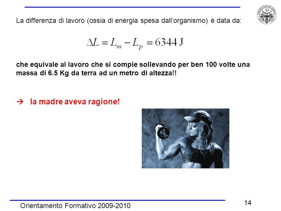 Orientamento Formativo 2009-2010 14 La differenza di lavoro (ossia di energia spesa dall'organismo) è data da: che equivale al lavoro che si compie so