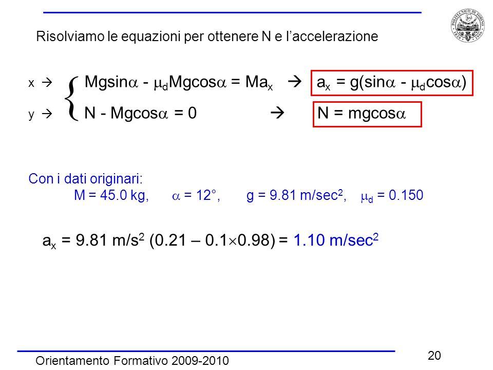 Orientamento Formativo 2009-2010 20 x  Mgsin  -  d Mgcos  = Ma x  a x = g(sin  -  d cos  ) y  N - Mgcos  = 0  N = mgcos   Con i dati originari: M = 45.0 kg,  = 12°, g = 9.81 m/sec 2,  d = 0.150 a x = 9.81 m/s 2 (0.21 – 0.1  0.98) = 1.10 m/sec 2 Risolviamo le equazioni per ottenere N e l'accelerazione